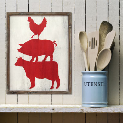 Cow Pig & Rooster Wall Art Print