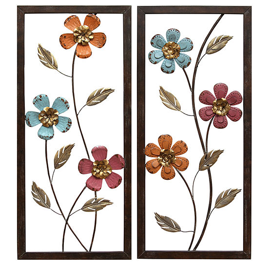 Stratton Home Multi-Colored Floral Panel Wall Décor 2-pc. Floral Metal Wall Art