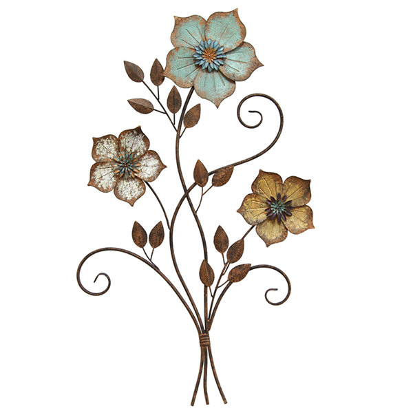 Rustic Tri-Color Flower Wall Décor Metal Wall Art