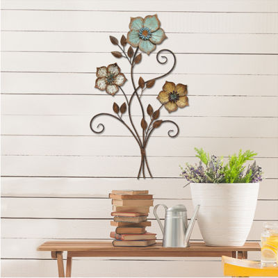 Rustic Tri-Color Flower Wall Décor Floral Metal Wall Art