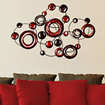 Stratton Home Decor Red Metallic Circles Wall Décor Metal Wall Art