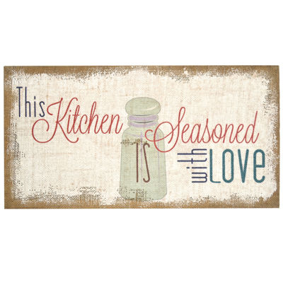 "Seasoned With Love"" Typography Burlap Wall Art Canvas Art"