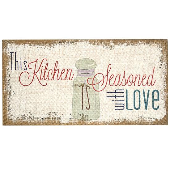 "Stratton Home Decor ""Seasoned With Love"" Typography Burlap Wall Art Canvas Art"