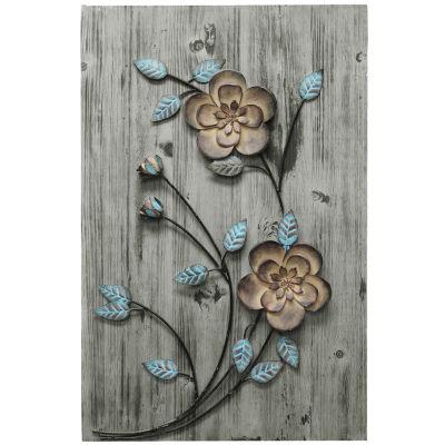Rustic Floral Panel I Wall Décor Floral Metal Wall Art