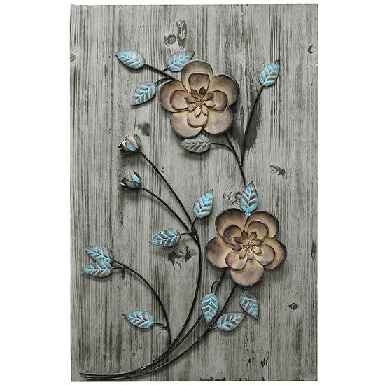 Stratton Home Rustic Floral Panel I Wall Décor Floral Metal Wall Art