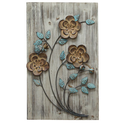 Rustic Floral Panel Ii Wall Décor Floral Metal Wall Art