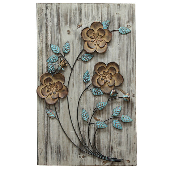 Stratton Home Rustic Floral Panel Ii Wall Décor Floral Metal Wall Art