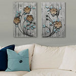 Stratton Home Decor Rustic Floral Panel Ii Wall Décor Floral Metal Wall Art