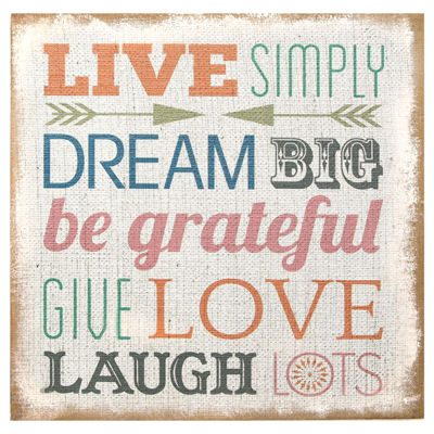 """Live Simply"" Typography Burlap Wall Art Canvas Art"