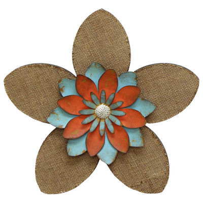 Burlap Flower Wall Décor Metal Wall Art