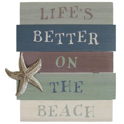 "Stratton Home Decor ""Life's Better On The Beach"" Wall Art"