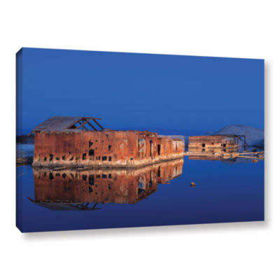 Abandoned And Sunken House Reflection Gallery Wrapped Canvas Wall Art