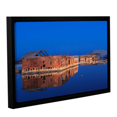 Brushstone Abandoned And Sunken House Reflection Gallery Wrapped Floater-Framed Canvas Wall Art