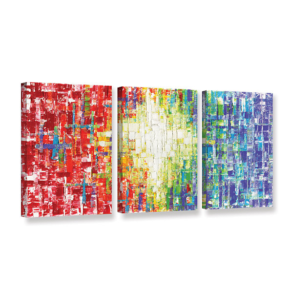 Brushstone abs white multicolor 3 pc gallery wrapped canvas wall art
