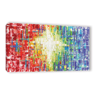 Brushstone Abs White Multicolor Gallery Wrapped Canvas Wall Art