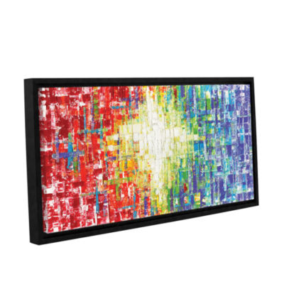 Brushstone Abs White Multicolor Gallery Wrapped Floater-Framed Canvas Wall Art