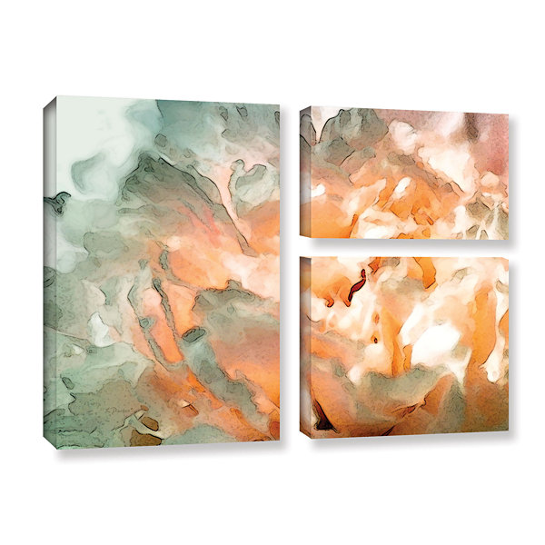 Brushstone Abstract Carnation 3-pc. Flag Gallery Wrapped Canvas Wall Art