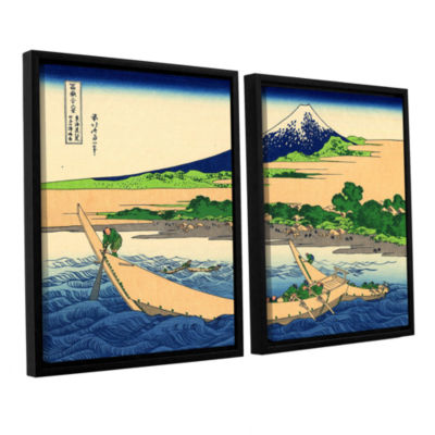 Brushstone A Fishing Boat with Mt Fuji 2-pc. Floater Framed Canvas Wall Art