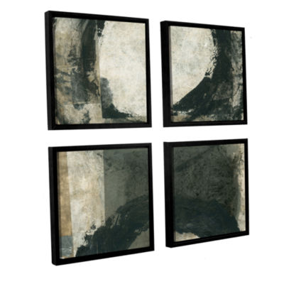 Brushstone Abstract Gray With Black Circles 4-pc.Square Floater Framed Canvas