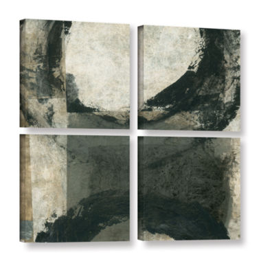Brushstone Abstract Gray With Black Circles 4-pc.Square Gallery Wrapped Canvas
