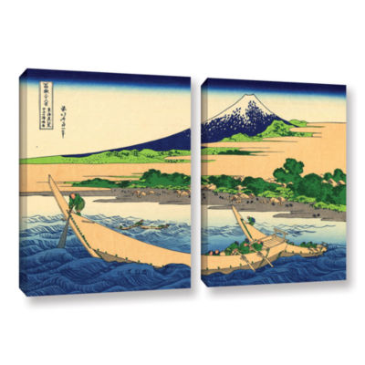 Brushstone A Fishing Boat with Mt Fuji 2-pc. Gallery Wrapped Canvas Wall Art