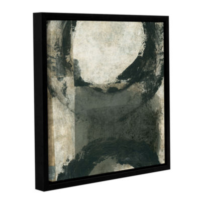 Brushstone Abstract Gray With Black Circles Gallery Wrapped Floater-Framed Canvas Wall Art