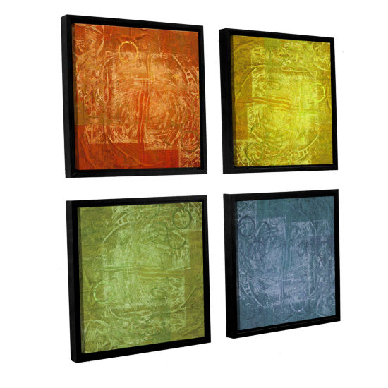 Brushstone 4 Lights 4-pc. Square Floater Framed Canvas