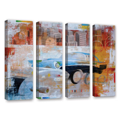 Brushstone 56 in the city 4-pc. Gallery Wrapped Canvas Wall Art