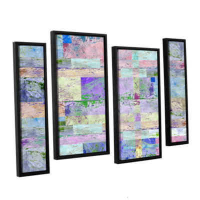 Brushstone Abstract I 4-pc. Floater Framed Staggered Canvas Wall Art