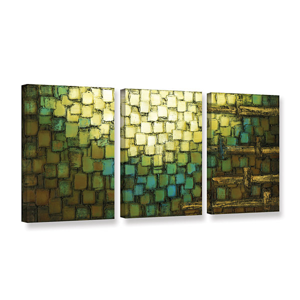 Brushstone Abstract Neutral 1 3-pc. Gallery Wrapped Canvas Wall Art