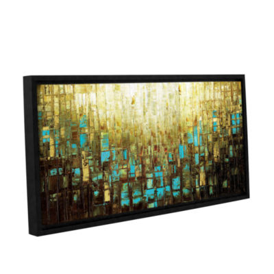 Brushstone Abstract Neutral 2 Gallery Wrapped Floater-Framed Canvas Wall Art