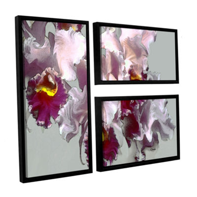 Abstract Orchid 3-pc. Flag Floater Framed Canvas Wall Art