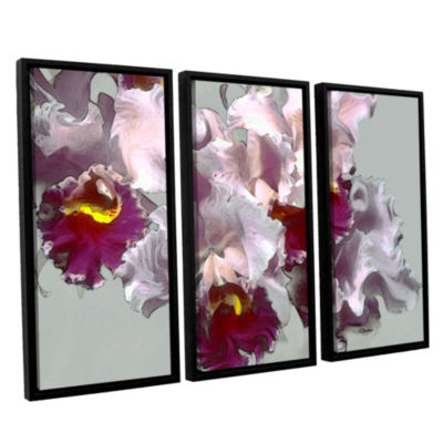 Brushstone Abstract Orchid 3-pc. Floater Framed Canvas Wall Art
