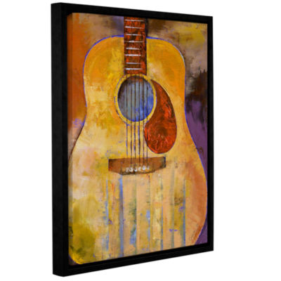 Brushstone Acoustic Guitar Gallery Wrapped Floater-Framed Canvas Wall Art