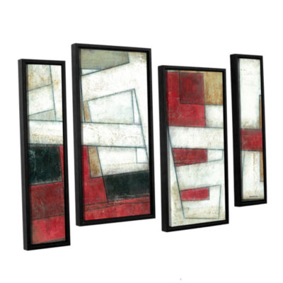 Brushstone Alignment 4-pc. Floater Framed Staggered Canvas Wall Art