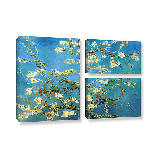 Brushstone Almond Blossom 3-pc. Flag Gallery Wrapped Canvas Wall Art