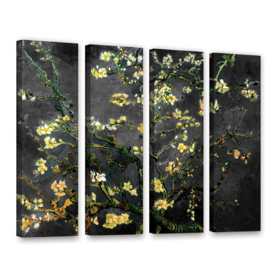 Brushstone Almond Blossom-Interpretation in Dahilia Black 4-pc. Gallery Wrapped Canvas Wall Art