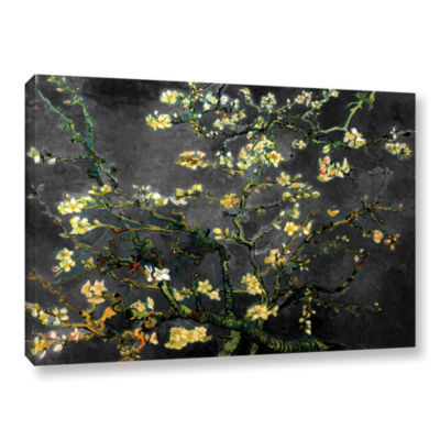 Brushstone Almond Blossom-Interpretation in Dahilia Black Gallery Wrapped Canvas Wall Art