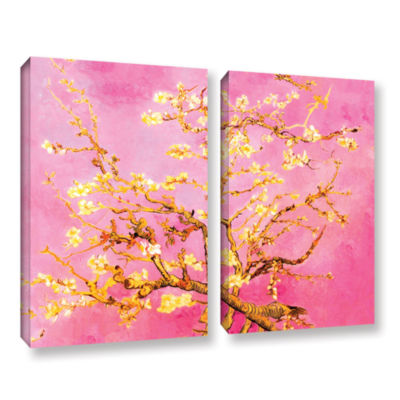 Brushstone Almond Blossom-Interpretation in Eggshell Pink 2-pc. Gallery Wrapped Canvas Wall Art