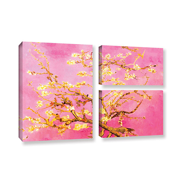 Brushstone Almond Blossom-Interpretation in Eggshell Pink 3-pc. Flag Gallery Wrapped Canvas Wall Art