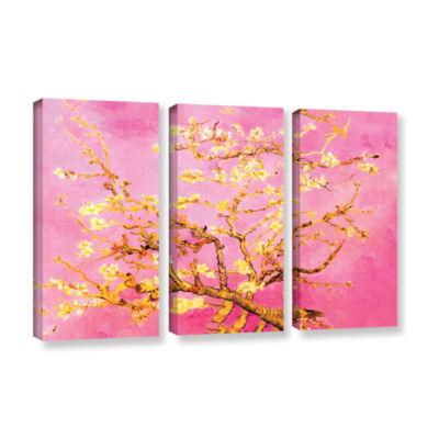 Brushstone Almond Blossom-Interpretation in Eggshell Pink 3-pc. Gallery Wrapped Canvas Wall Art