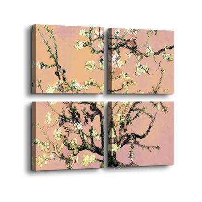 Brushstone Almond Blossom-Interpretation in Eggshell Pink 4-pc. Square Gallery Wrapped Canvas