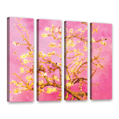 Brushstone Almond Blossom-Interpretation in Eggshell Pink 4-pc. Gallery Wrapped Canvas Wall Art