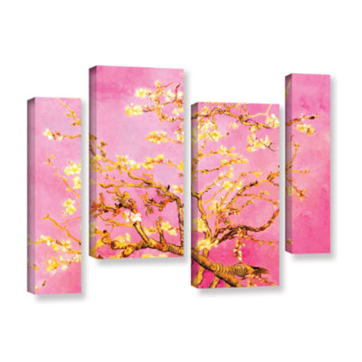 Brushstone Almond Blossom-Interpretation in Eggshell Pink 4-pc. Gallery Wrapped Staggered Canvas Wall Art