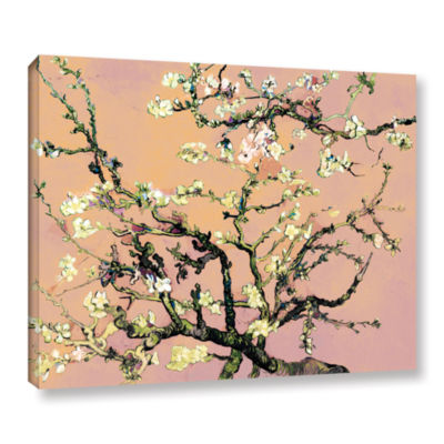 Brushstone Almond Blossom-Interpretation in Eggshell Pink Gallery Wrapped Canvas Wall Art