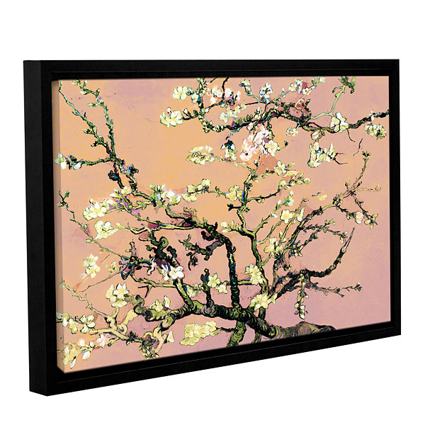 Brushstone Almond Blossom-Interpretation in Eggshell Pink Gallery Wrapped Floater-Framed Canvas WallArt
