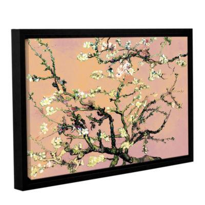 Brushstone Almond Blossom-Interpretation in Eggshell Pink Gallery Wrapped Floater-Framed Canvas WallArt