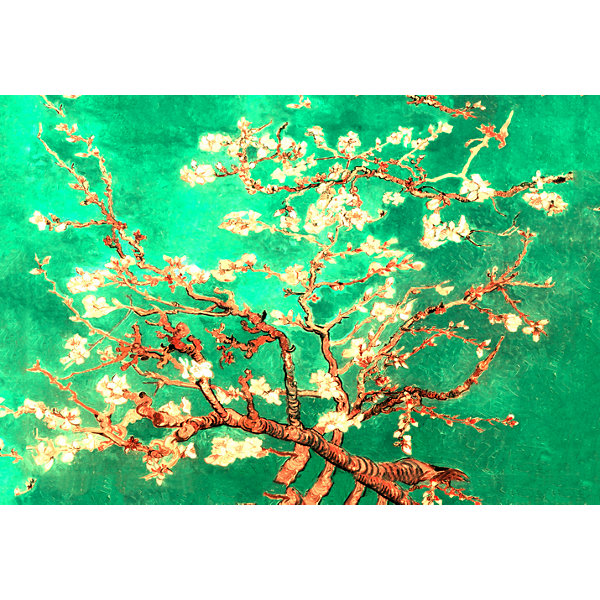 Brushstone Almond Blossom-Interpretation in Emerald Green 3-pc. Gallery Wrapped Canvas Wall Art