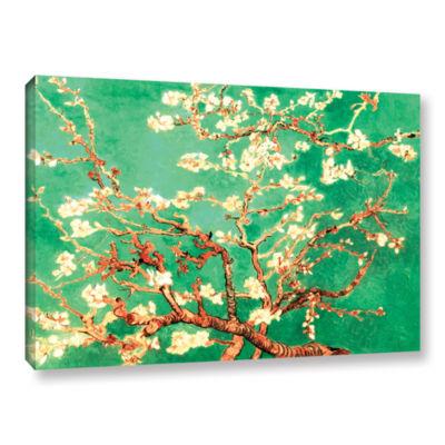 Brushstone Almond Blossom-Interpretation in Emerald Green Gallery Wrapped Canvas Wall Art