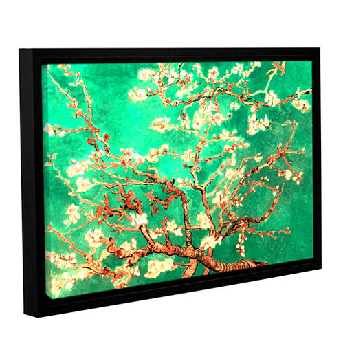 Almond Blossom-Interpretation in Emerald Green Gallery Wrapped Floater-Framed Canvas Wall Art